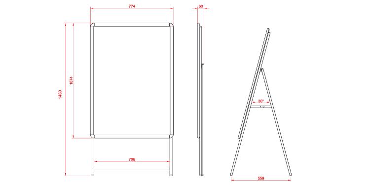 A型看板 木目タイプA型看板